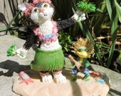 Aloha Cat Figurine by L. A. Berry,  Black and White Hawaiian Cat doing the hula with ukelele frog. FREE NOTE CARD included!