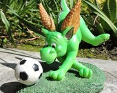 """Dragon playing soccer Figurine by L. A. Berry,  """"Soccer Fun""""  Cute green dragon with soccer ball. MATCHING CARD included!"""