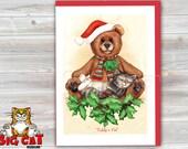 CHRISTMAS Holiday Cat Card, 5X7 Frame Ready Card.  Teddy's Pal, Sleeping Tabby Kitten and Teddy Bear -   Handmade Card
