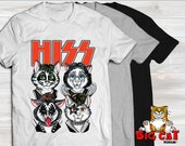 Unisex Cat T-shirt HISS Rock Band- in white, gray or black