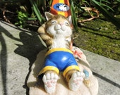 "Surf Kitten Figurine by L. A. Berry,  ""Hung Ten"" Tabby Cat with his surfboard at the beach. FREE NOTE CARD included!"