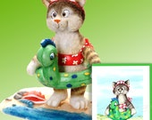 "Cat at the Beach Figurine by L. A. Berry,  ""Cat Dip"" Tabby Kitten in a swimsuit. FREE NOTE CARD included!"