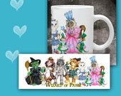 CAT MUG. Wizard of Pawz. Cats playing Wizard of Oz Characters. 11 oz Cat Coffee Mug with art all the way around