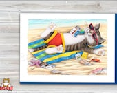 CAT CARD. Laid Back Cat, Cat on the Beach. 5x7 Framable Cat Art Card.  Tabby Cat Art, Beach Cat Art.  Retirement Card.