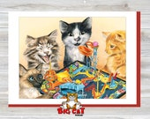 Cat Greeting Card MOUSETRAP parody - 5x7 size. Handmade note card signed by the artist- blank inside