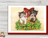 CHRISTMAS Holiday Cat Card, 5X7 Frame Ready Card.  Siamese and Tabby Cats in a Basket.  Handmade Card
