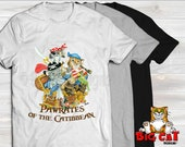 Unisex Cat T-shirt -PAWRATES of the CATIBBEAN- in white, gray or black, cute pirate cats