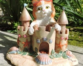 Sandcastle Kitty Figurine by L. A. Berry,  Orange cat playing at the beach. FREE NOTE CARD included!