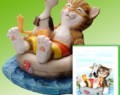 "Tabby Cat Tubing Figurine by L. A. Berry,  ""Adrift in Paradise"", Tiger Cat with his Seagull Friend. FREE NOTE CARD included!"