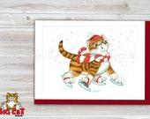 CHRISTMAS Holiday Cat Card, 5X7 Frame Ready Card.  Orange Tabby Kitten on Ice Skates -   Handmade Card