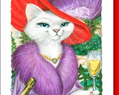 5x7 Cat Greeting Card  RED HAT CAT- blank inside