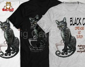 Black Cat T-shirt,  BLACK CAT Coffee House & Tea Room- Available in white, gray or black - Not a transfer