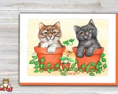 5x7 Cat Greeting Card POTTED PALS -blank inside