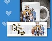 Cat Coffee Mug - CATTAMS FAMILY - Cats Play Addams Family, 11 oz ceramic mug