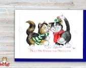CHRISTMAS Holiday Cat Card, 5X7 Frame Ready Card.  Mistletoe Cats -   Handmade Card