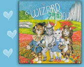 6x6 Cat Spoon Rest  WIZARD OF PAWZ.  Wizard of Oz cats.  use as art, spoon rest or trivet - 6x6 inches, Great Kitchen Art