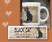 Cat Coffee Mug BLACK CAT COFFEE House - 11 oz ceramic mug.  Art all the way around.