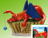 Big Red Dragon playing with yoyo Figurine by L. A. Berry.  Lazy Red Dragon. FREE NOTE CARD included!  YoYo moves!