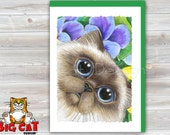 CAT CARD. Pansy Kitty. Big Eye Siamese Persian Cat with Pansies. Cat Greeting Card.  Cat Birthday Card, Persian Cat Art