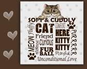 Cat Spoon Rest  HAPPY CAT WORDS - use as art, spoon rest or trivet - 6x6 inches. Great Kitchen Art