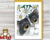 CAT CARD. Daisy Cat. Big Eye Black and White Cat Greeting Card. Black and White Persian Cat Card.  Cat with Flowers Greeting Card