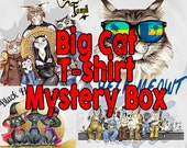 CAT T-Shirt MYSTERY BOX -  One Mystery Cat T-shirt with the art of L. A. Berry, Big Cat Designs