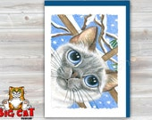5x7 Cat Greeting Card WINTER KITTY - blank inside