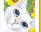 5x7 Cat Greeting Card SPRING KITTY -blank inside