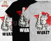 WHAT? Tabby Cat Licking himself, Confused Cat. Funny Cat T-shit.  Direct Printed, not a transfer.