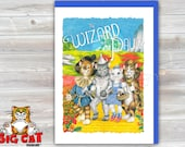 Cat Greeting Card  WIZARD OF PAWZ- cats play Wizard of Oz - 5x7 size. Handmade note card signed by the artist- blank inside