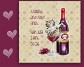 Cat Spoon Rest WINE CAT - Cat in Wineglass, 6x6 inches use as art, spoon rest or trivet - Great Kitchen Art!
