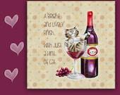 6x6 Cat Spoon Rest WINE CAT - use as cat art, cat tile, cat spoon rest or cat trivet. Great Kitchen Art