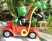 """Dragons playing Firefighter Figurine by L. A. Berry,  """"Where's the Fire?""""  Funny dragons  MATCHING CARD included!"""