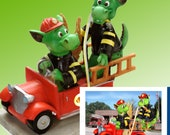 """Dragons playing Firefighter Figurine by L. A. Berry,  """"Where's the Fire?""""  Funny dragons  FREE NOTE CARD included!"""