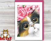 5x7 Cat Greeting Card CALICO CAT -blank inside