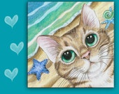 Beach Cat SPOON REST or TRIVET.  Cute, Big Eyed Tabby Cat with starfish.  6x6 inches use as art, spoon rest or trivet - Great Kitchen Art!