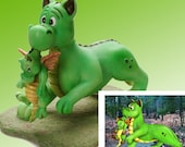 """Baby Dragon Needs a Bath Figurine by L. A. Berry,   """"But I Don't Need a Bath"""" Mama and Baby Dragon  FREE NOTE CARD included!"""