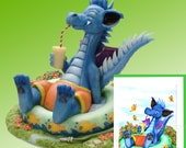 """Dragon relaxing in a kiddie pool Figurine by L. A. Berry,  """"Private Pool""""  Cute Blue Dragon in swim trunks. FREE NOTE CARD included!"""