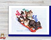 CHRISTMAS Holiday Cat Card, 5X7 Frame Ready Card.  Three Cats Sledding -   Handmade Card