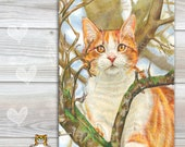 Cat Spoon Rest  ORANGE TABBY in a tree, -  use as art, spoon rest or trivet - 6x8 inches, Great Kitchen Art