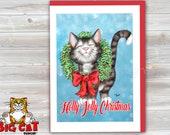 CHRISTMAS Holiday Cat Card, 5X7 Frame Ready Card. Holly Jolly Cat -   Handmade Card