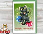 CHRISTMAS Holiday Cat Card, 5X7 Frame Ready Card.  Naughty Black Cat in Christmas Tree.  Handmade Card
