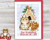 CHRISTMAS Holiday Cat Card, 5X7 Frame Ready Card.  Gingerbread Cat -   Handmade Card