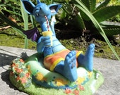 """Dragon relaxing in a kiddie pool Figurine by L. A. Berry,  """"Private Pool""""  Cute Blue Dragon in swim trunks. MATCHING CARD included!"""