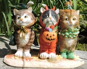 "Halloween Cats Figurine by L. A. Berry,  ""Kit or Treat"", Three Cats and Two Mice Trick or Treating. FREE NOTE CARD included!"