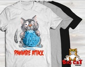 Unisex Cat T-shirt PAWMBIE ATTACK- in white, gray or black