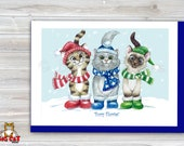 CHRISTMAS Holiday Cat Card, 5X7 Frame Ready Card. Furry Flurries - Three Winter Cats.  Handmade Card
