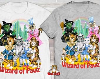 WIZARD OF OZ T-shirt.  Wizard of Pawz T-shirt.  Cat Lady Shirt, Cat Tshirt, Funny Cat Shirt, Cat Rescue Shirt.  Cat Lover Shirt.