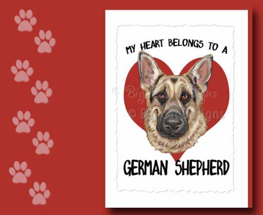 German shepherd card german shepherd greeting card german etsy zoom m4hsunfo