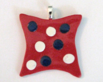 Red Pendant with Blue and White Dots